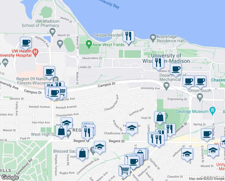 map of restaurants, bars, coffee shops, grocery stores, and more near 2010 University Avenue in Madison