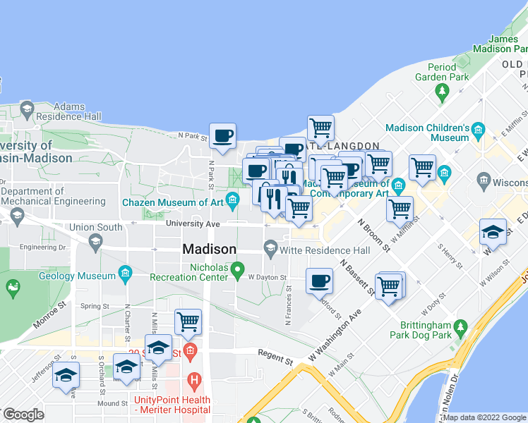 map of restaurants, bars, coffee shops, grocery stores, and more near North Lake Street in Madison