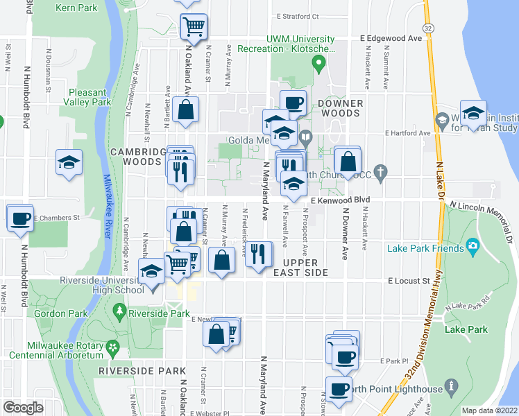 map of restaurants, bars, coffee shops, grocery stores, and more near 2125 East Kenwood Boulevard in Milwaukee