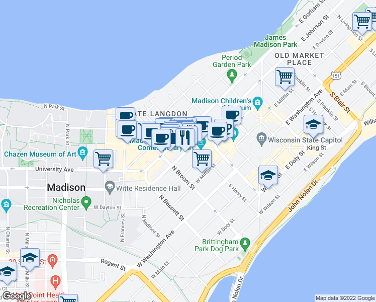 map of restaurants, bars, coffee shops, grocery stores, and more near 309 West Johnson Street in Madison