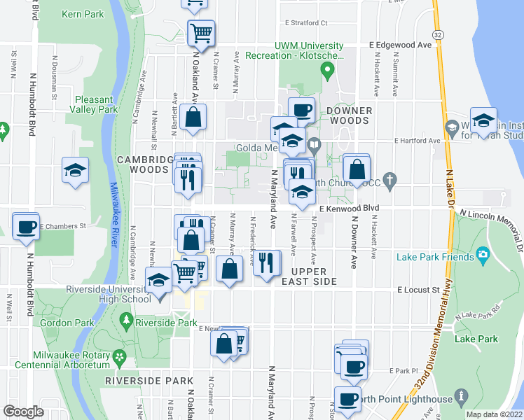 map of restaurants, bars, coffee shops, grocery stores, and more near 2125 E Kenwood Blvd in Milwaukee