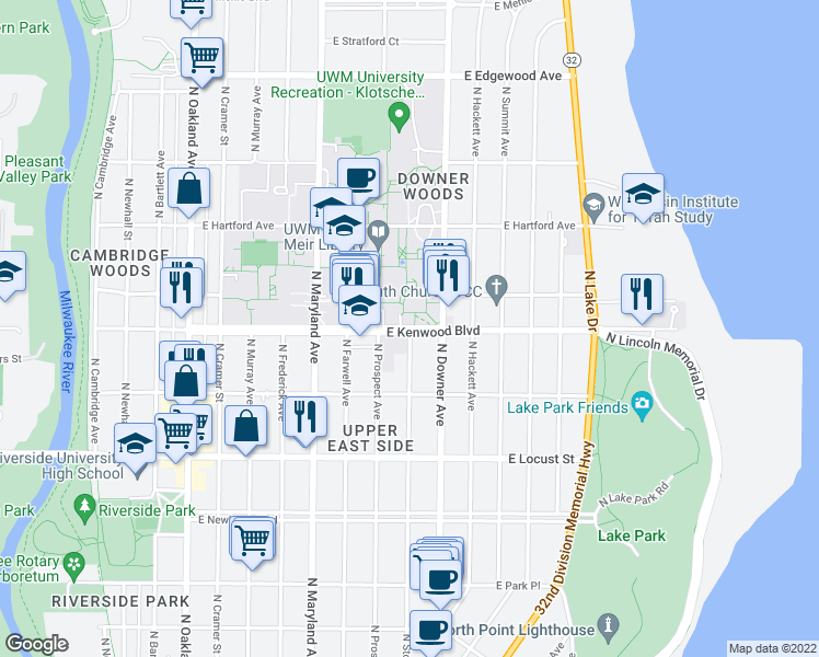 map of restaurants, bars, coffee shops, grocery stores, and more near North Stowell Avenue in Milwaukee