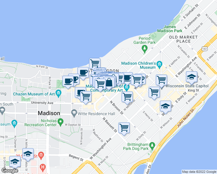 map of restaurants, bars, coffee shops, grocery stores, and more near 414 State Street in Madison