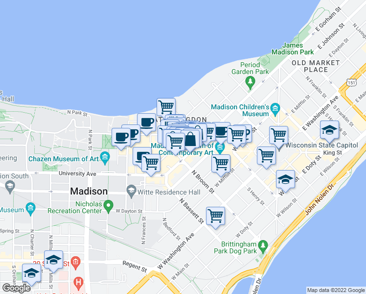 map of restaurants, bars, coffee shops, grocery stores, and more near 442 State Street in Madison
