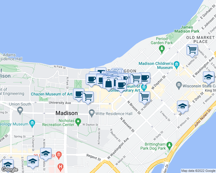 map of restaurants, bars, coffee shops, grocery stores, and more near 546 State Street in Madison