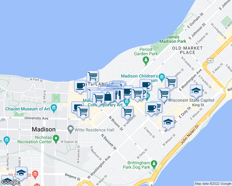 map of restaurants, bars, coffee shops, grocery stores, and more near 148 West Gorham Street in Madison