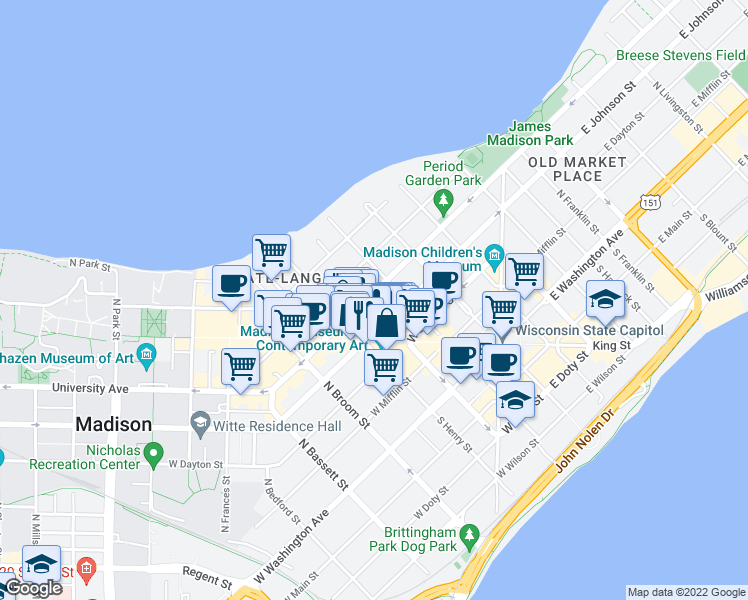 map of restaurants, bars, coffee shops, grocery stores, and more near 119 West Gorham Street in Madison