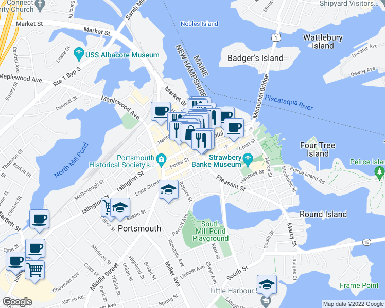 map of restaurants, bars, coffee shops, grocery stores, and more near 18 Porter Street in Portsmouth