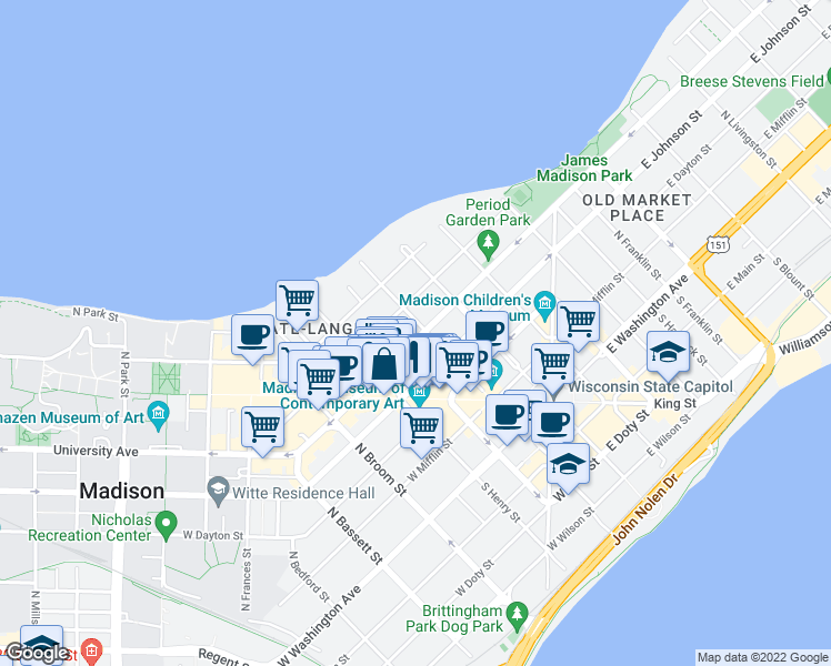map of restaurants, bars, coffee shops, grocery stores, and more near 104 West Gorham Street in Madison