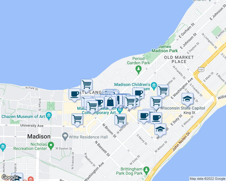 map of restaurants, bars, coffee shops, grocery stores, and more near 111 West Gilman Street in Madison
