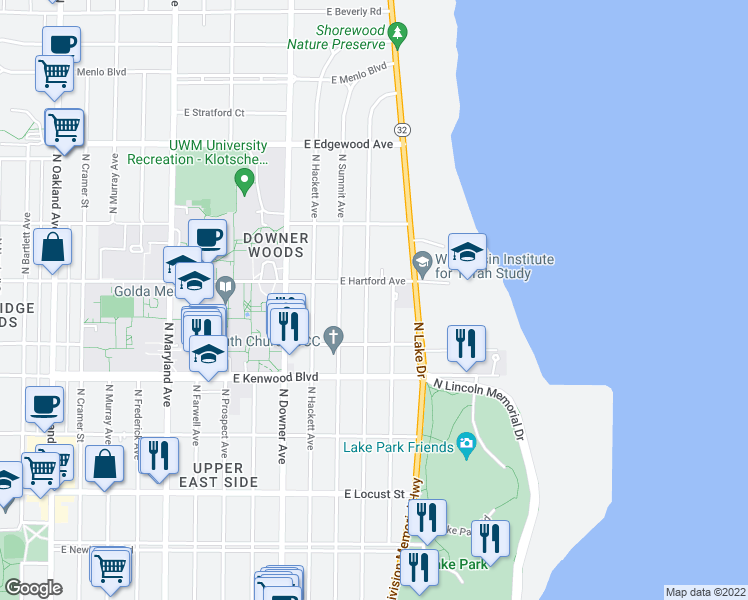 map of restaurants, bars, coffee shops, grocery stores, and more near 3264 North Shepard Avenue in Milwaukee