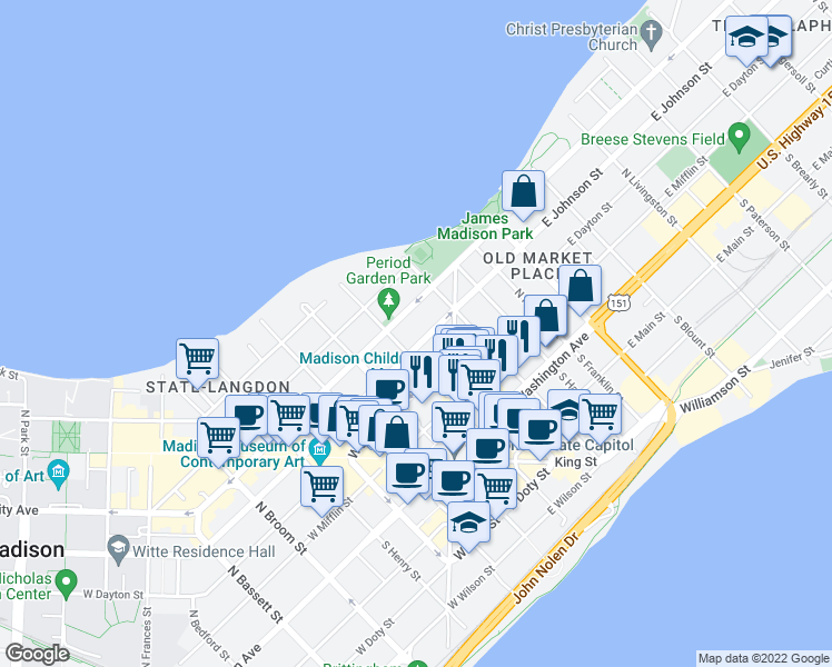 map of restaurants, bars, coffee shops, grocery stores, and more near 116 East Johnson Street in Madison