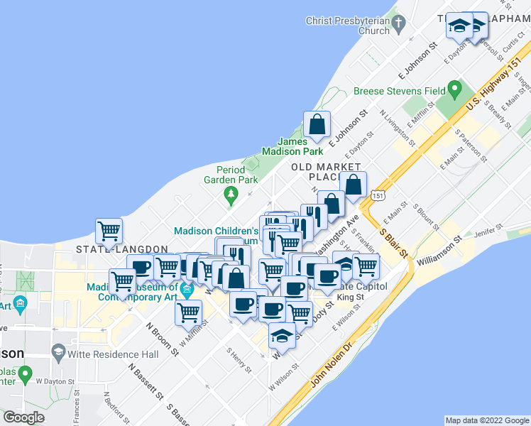 map of restaurants, bars, coffee shops, grocery stores, and more near 135 East Johnson Street in Madison