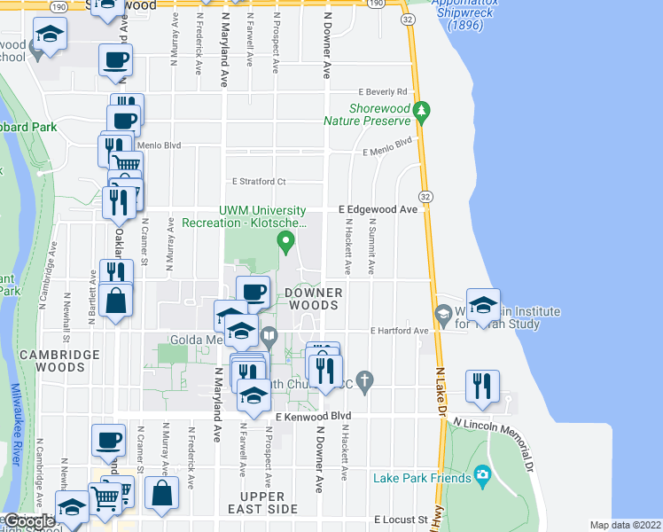 map of restaurants, bars, coffee shops, grocery stores, and more near 3416 North Downer Avenue in Milwaukee