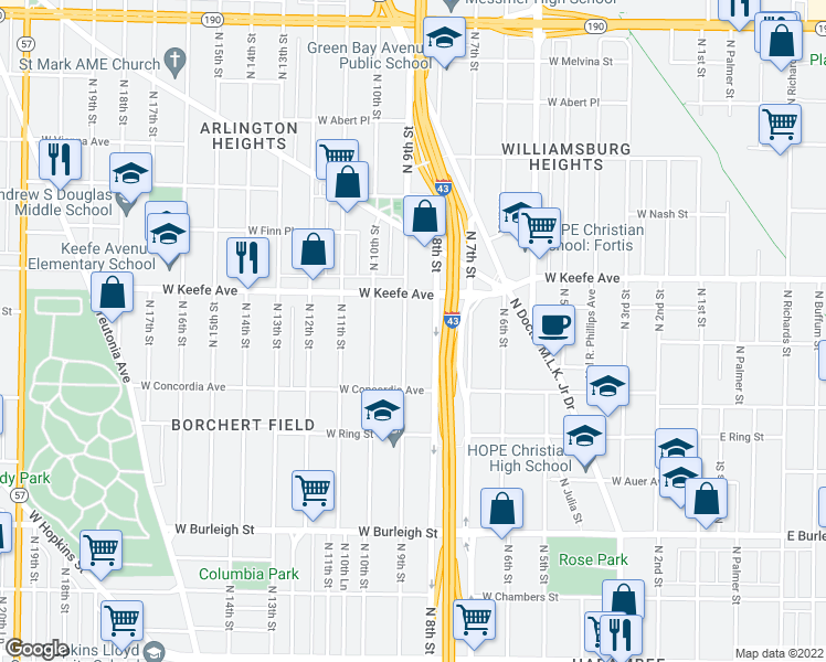 map of restaurants, bars, coffee shops, grocery stores, and more near 3420 North 9th Street in Milwaukee