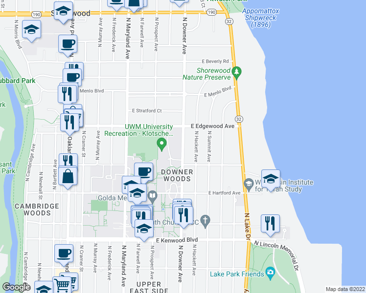 map of restaurants, bars, coffee shops, grocery stores, and more near 3446 N Downer Ave in Milwaukee