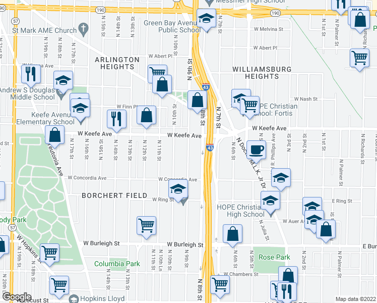 map of restaurants, bars, coffee shops, grocery stores, and more near 3420 N 9th St in Milwaukee