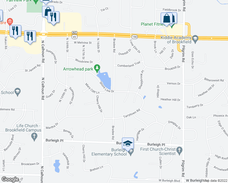 map of restaurants, bars, coffee shops, grocery stores, and more near Bradee Rd in Brookfield