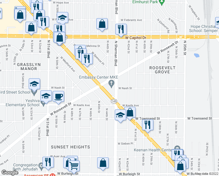 map of restaurants, bars, coffee shops, grocery stores, and more near 3725 North Sherman Boulevard in Milwaukee