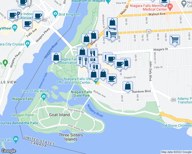 map of restaurants, bars, coffee shops, grocery stores, and more near 222 1st Street in Niagara Falls