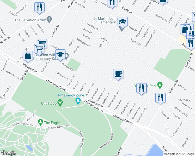 map of restaurants, bars, coffee shops, grocery stores, and more near 1613 Howard Avenue in Utica