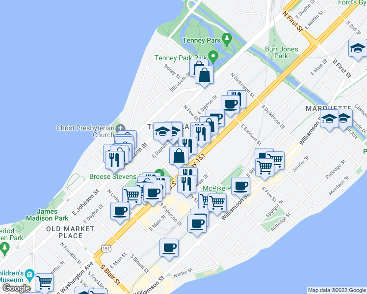 map of restaurants, bars, coffee shops, grocery stores, and more near East Mifflin Street in Madison