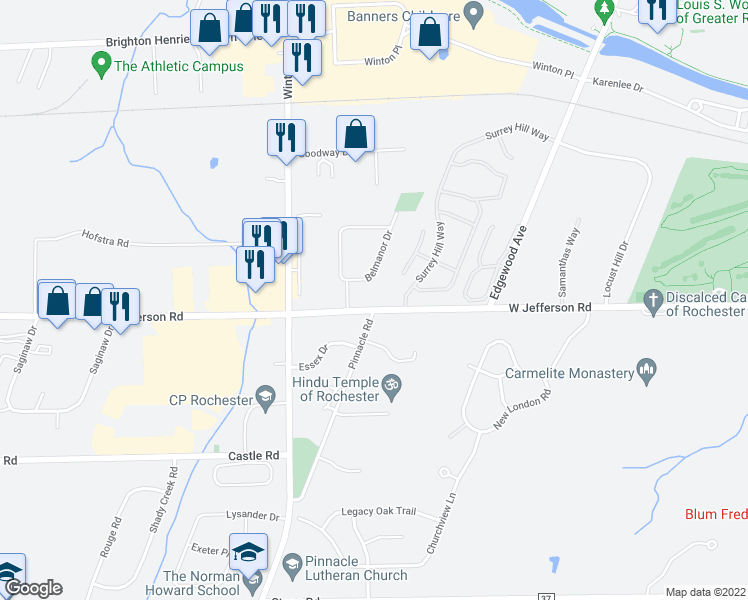 map of restaurants, bars, coffee shops, grocery stores, and more near 1664 West Jefferson Road in Pittsford