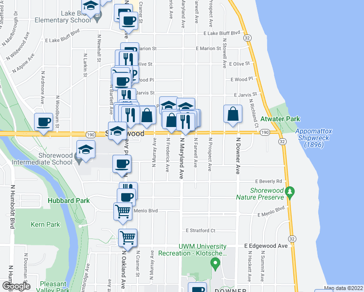 map of restaurants, bars, coffee shops, grocery stores, and more near 3953 North Maryland Avenue in Shorewood