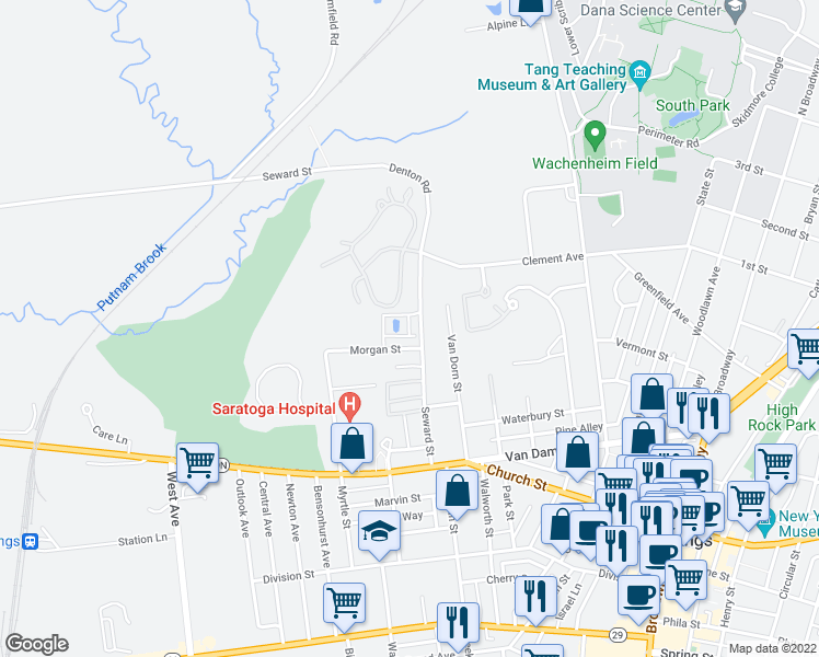 map of restaurants, bars, coffee shops, grocery stores, and more near 5 Equestrian Lane in Saratoga Springs