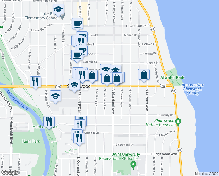 map of restaurants, bars, coffee shops, grocery stores, and more near 2121 East Capitol Drive in Milwaukee