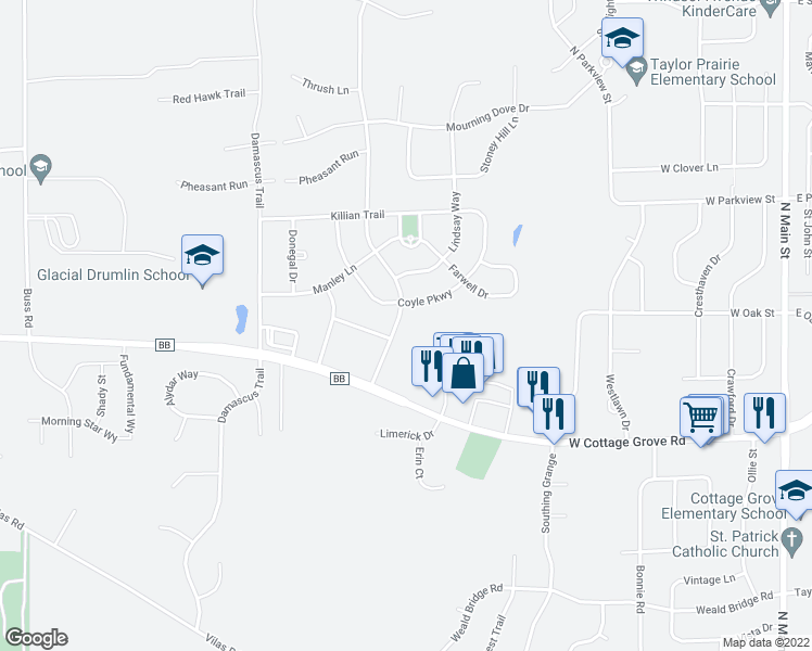 map of restaurants, bars, coffee shops, grocery stores, and more near 720 Sandpiper Trail in Cottage Grove