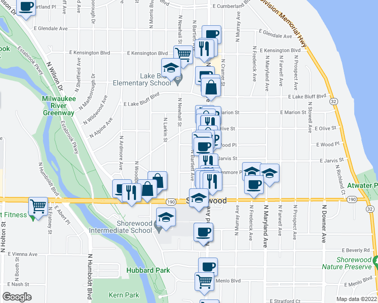 map of restaurants, bars, coffee shops, grocery stores, and more near 4143 N Bartlett Ave in Shorewood