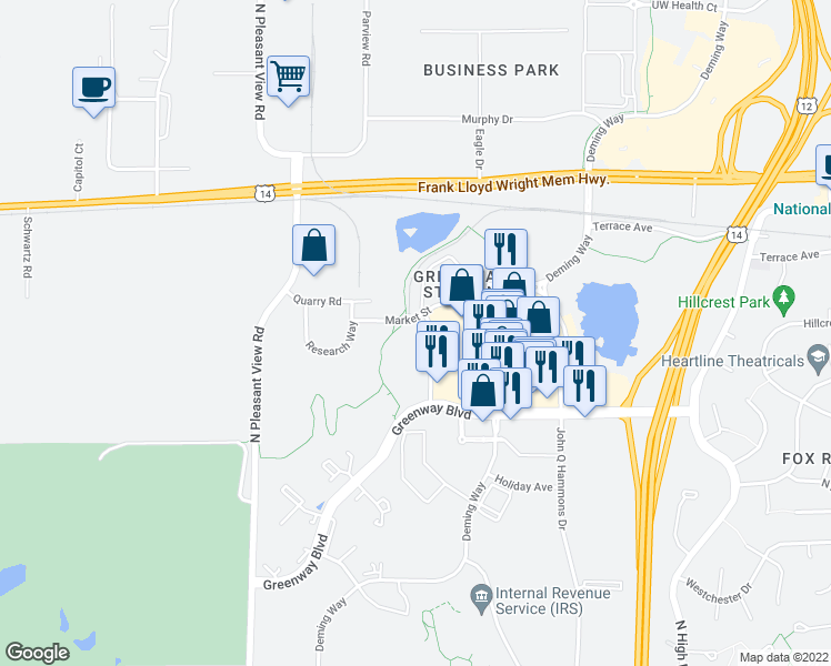 map of restaurants, bars, coffee shops, grocery stores, and more near 1690 Aspen Commons in Middleton