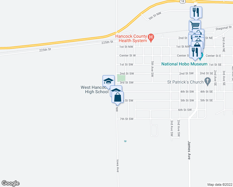 map of restaurants, bars, coffee shops, grocery stores, and more near 342-498 9th Avenue Southwest in Britt