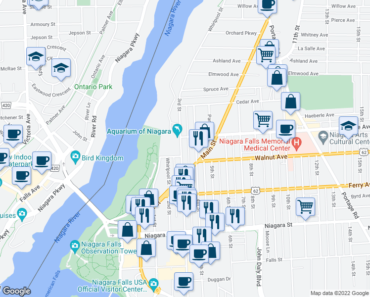 map of restaurants, bars, coffee shops, grocery stores, and more near 615 3rd Street in Niagara Falls