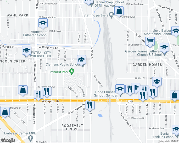 map of restaurants, bars, coffee shops, grocery stores, and more near 3500 West Hope Avenue in Milwaukee