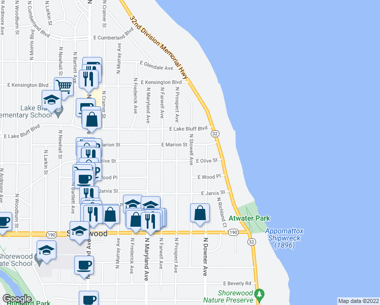 map of restaurants, bars, coffee shops, grocery stores, and more near 4215 North Stowell Avenue in Milwaukee