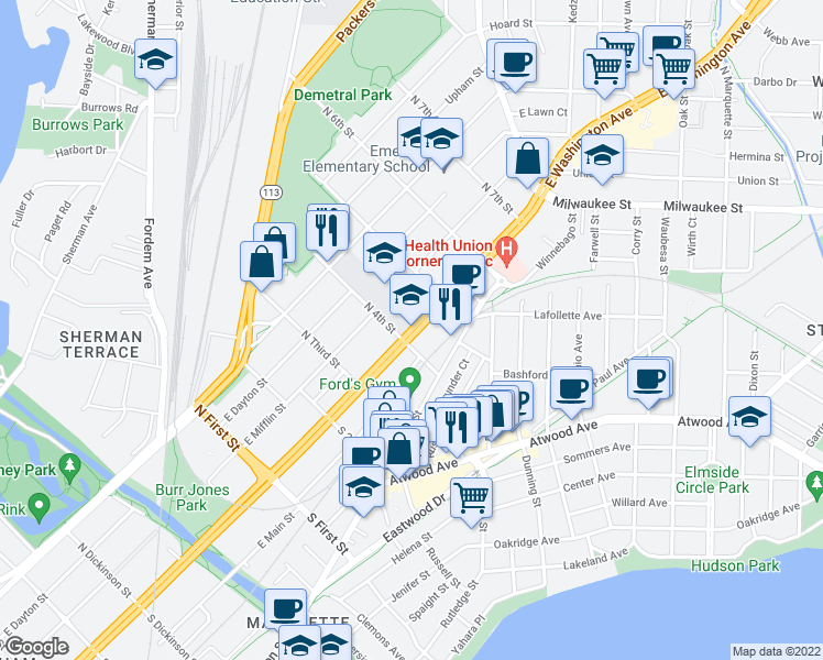 map of restaurants, bars, coffee shops, grocery stores, and more near 2225 East Washington Avenue in Madison