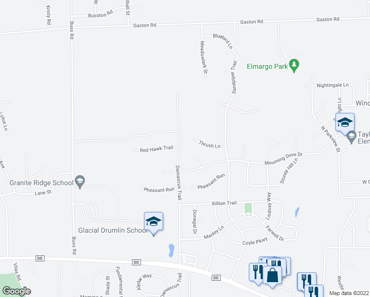 map of restaurants, bars, coffee shops, grocery stores, and more near 1018 Damascus Trail in Cottage Grove
