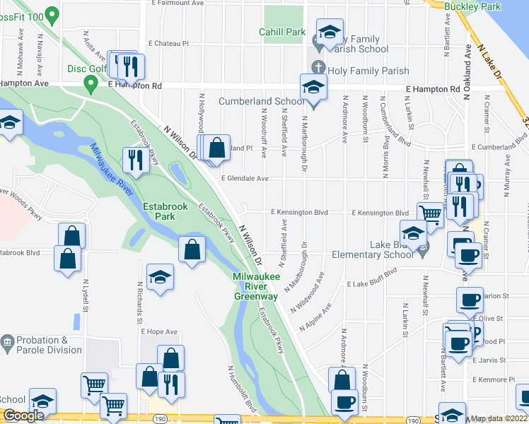 map of restaurants, bars, coffee shops, grocery stores, and more near E Kensington Blvd & N Woodruff Ave in Shorewood