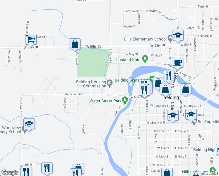Belding Michigan Map.41 Belhaven Avenue Belding Mi Walk Score