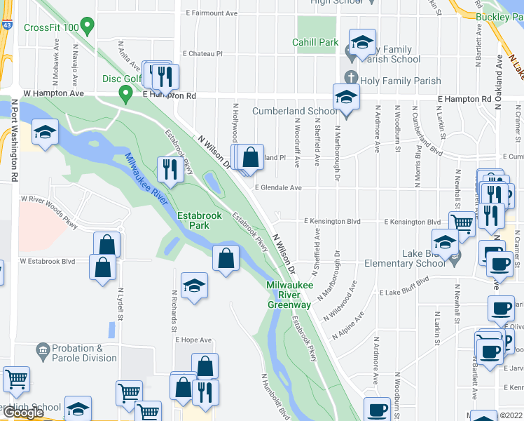 map of restaurants, bars, coffee shops, grocery stores, and more near 715 East Glendale Avenue in Shorewood