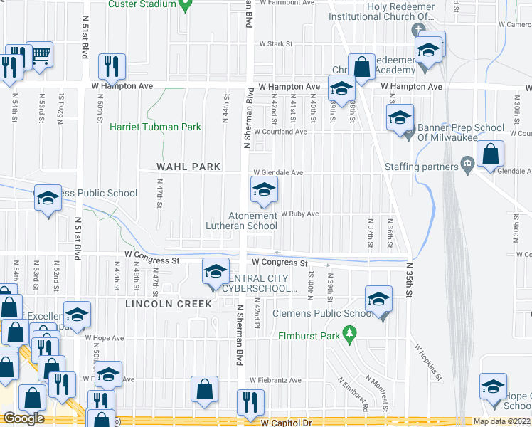 map of restaurants, bars, coffee shops, grocery stores, and more near 4206 West Ruby Avenue in Milwaukee