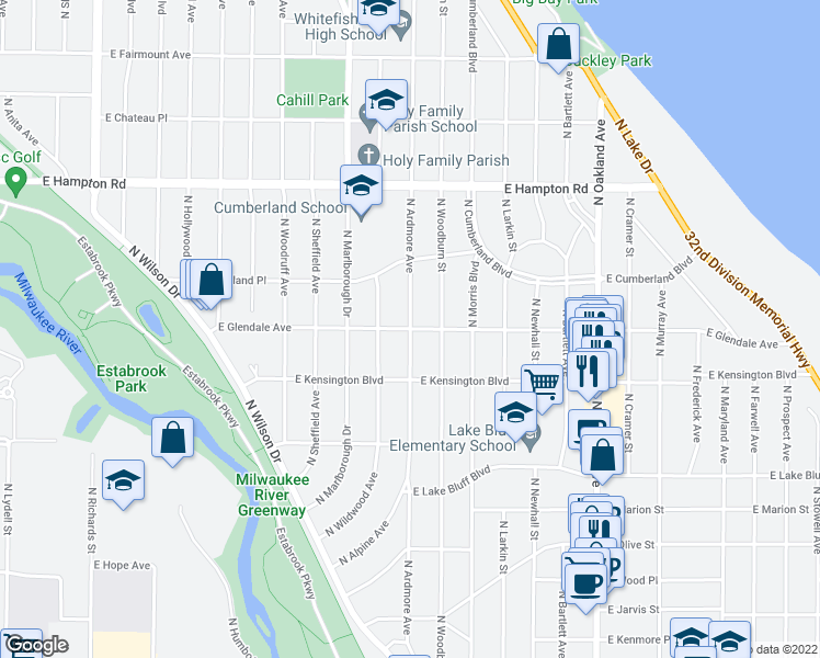 map of restaurants, bars, coffee shops, grocery stores, and more near North Ardmore Avenue in Milwaukee