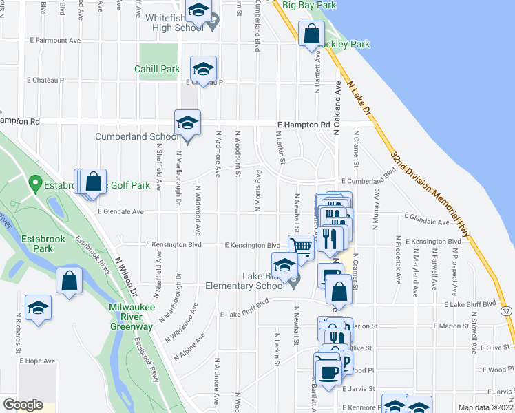 map of restaurants, bars, coffee shops, grocery stores, and more near 4607 North Morris Boulevard in Whitefish Bay