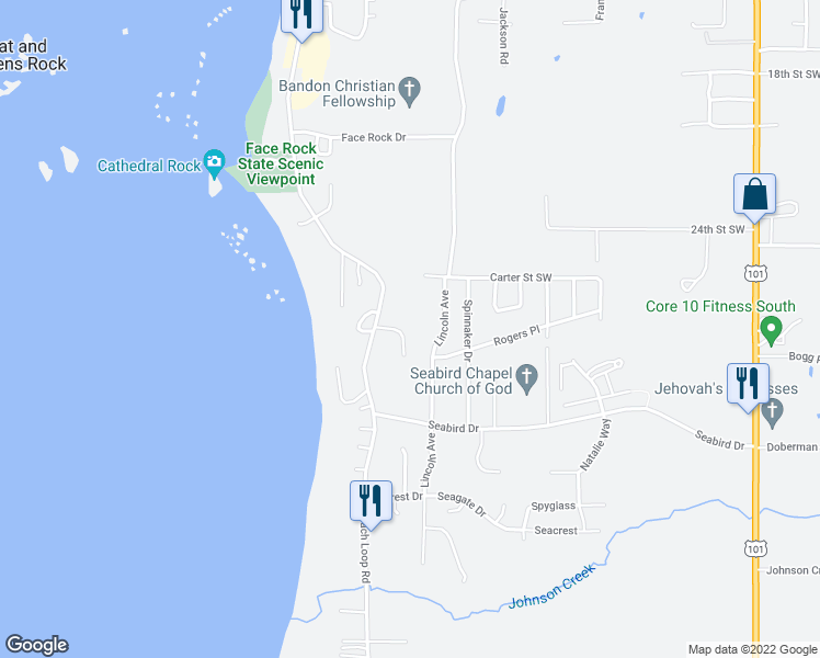 map of restaurants, bars, coffee shops, grocery stores, and more near 1175 3 Wood Drive in Bandon