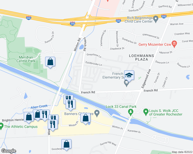 map of restaurants, bars, coffee shops, grocery stores, and more near 686 Eastbrooke Lane in Rochester