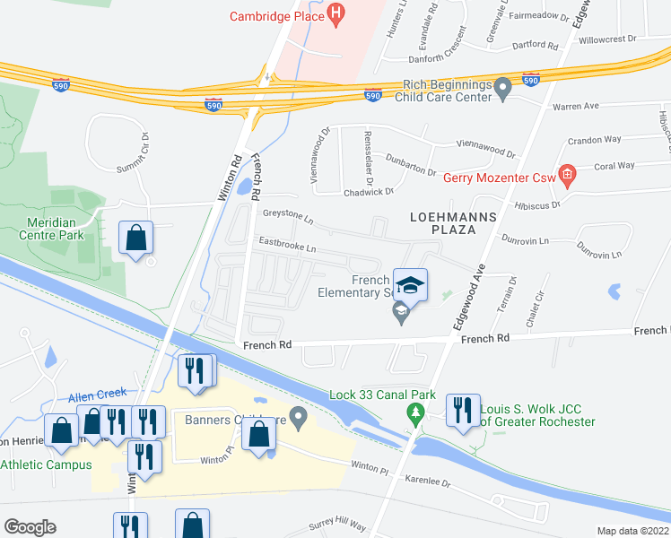 map of restaurants, bars, coffee shops, grocery stores, and more near 610 Eastbrooke Lane in Rochester