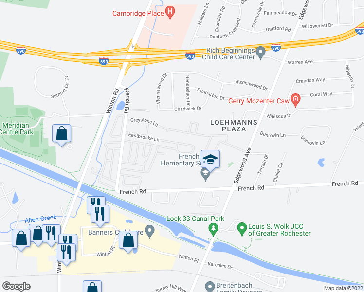 map of restaurants, bars, coffee shops, grocery stores, and more near 554 Eastbrooke Lane in Rochester