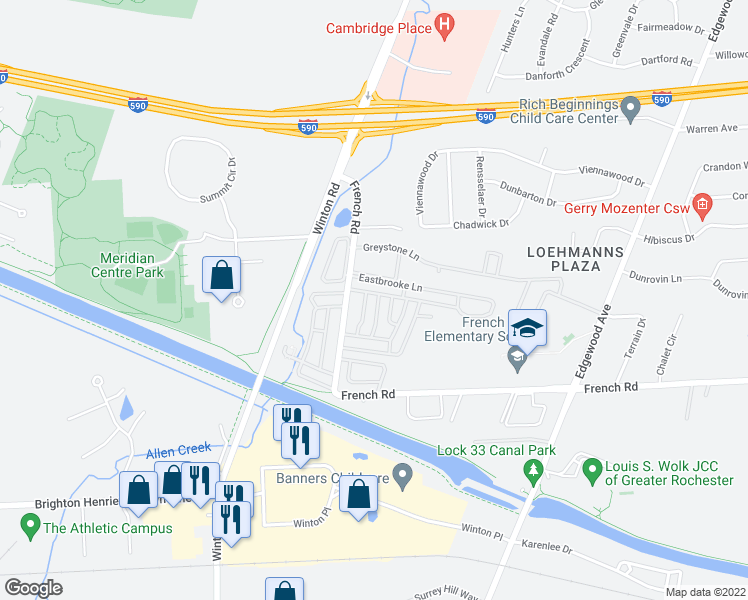 map of restaurants, bars, coffee shops, grocery stores, and more near 846 Eastbrooke Lane in Rochester